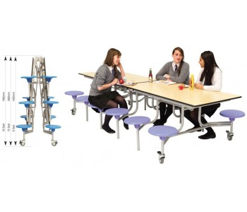 Rectangular Mobile Folding Table 12 Seating Units