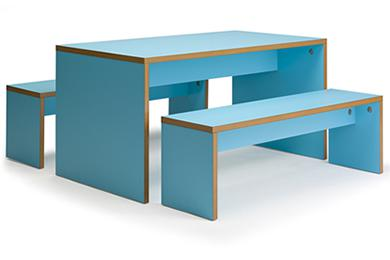 Forest Bench Table Blue